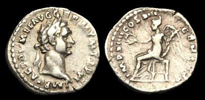 Ancient Coins - TI-FQTJ - DOMITIAN AR Quinarius, c87, c16mm, c1.5g.