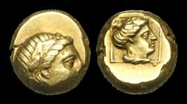 Ancient Coins - GR-KDUT - ASIA MINOR - LESBOS, Mytilene, Electrum Hekte, c377-326BC.