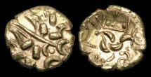 Ancient Coins - CE-UJTF - CORIELTAUVI - '4 DOMINO', Gold Stater, ca.45-10BC.           RARE