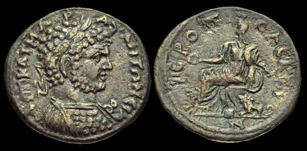 Ancient Coins - IJ-193 - CARACALLA - Phrygia, Hieropolis, AE25, c196-8AD.....Ex. I Jones collection.....