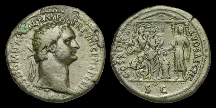 Ancient Coins - OR-JBDU - DOMITIAN - AE As, c88AD.....SAECULAR GAMES.....