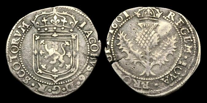 Ancient Coins - SC-JQFQ - SCOTLAND - JAMES VI, 8th Iss. Half Thistle-Merk, 1601.