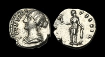 Ancient Coins - TI-KQDW - FAUSTINA II - AR Denarius, ca.147-61AD.          RARE BUST LEFT