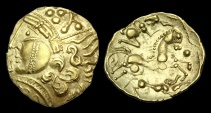 CE-PJFU - NORTH WEST GAUL - AULERCI EBUROVICES - Gold Hemistater, ca.225-200BC.             STUNNING
