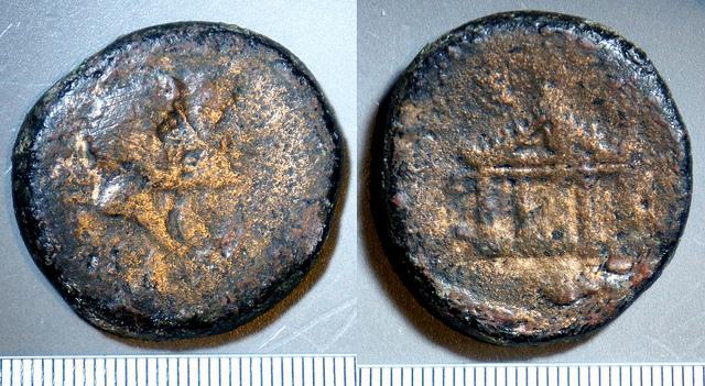 Ancient Coins - MC_4-5 - OCTAVIAN - Sardinia, Caralis. AE Dupondius, c40BC, c30mm, c27.6g.