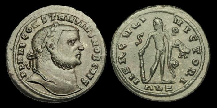 Ancient Coins - LT-FQQU - CONSTANTIUS I as Caesar AE Follis, c304-5AD, c28mm, c9.9g.