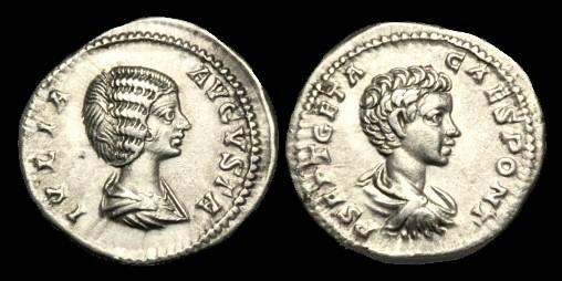 Ancient Coins - PE-FKBK - JULIA DOMNA AND GETA AR Denarius, c201, c19mm, c3.5g.
