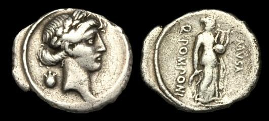 Ancient Coins - RE-BQBF - REPUBLIC - Q Pomponius Musa, AR Denarius, c66BC.....Terpischore, the Muse of Dancing....