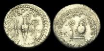 RE-QWTF - MARK ANTONY + L.MUNATIUS PLANCUS - AR Denarius, ca.40BC.             VERY RARE