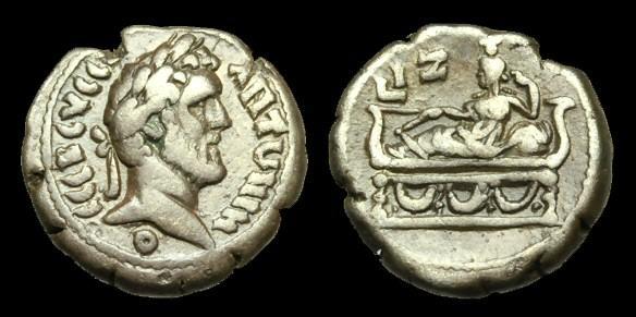 Ancient Coins - IJ-226 - ANTONINUS PIUS Billon Tetradrachm, L I Z = yr.17 = 153-4AD, c22mm, c10.6g.