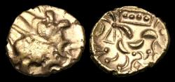 Ancient Coins - CE-WTBT - CELTIC CORIELTAUVI Gold Stater, ca.45-10BC. '4 Domino'