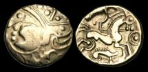 Ancient Coins - CE-KPBF - NORTH WEST GAUL - AULERCI EBUROVICES, Gold Hemistater, ca.225-175BC.