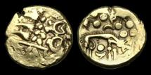Ancient Coins - CE-KPTJ - ICENI - NORFOLK WOLF R., Gold Stater, ca.65-45BC.                    WOLF !!