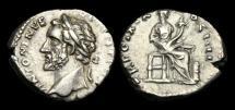 Ancient Coins - TI-JDWD - ANTONINUS PIUS - AR Denarius, ca.155-6AD.  VERY RARE - Bust to Left !