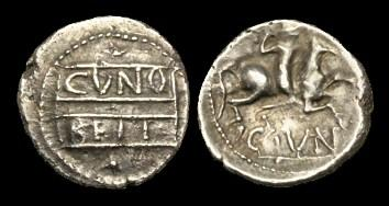 Ancient Coins - CE-FKBD - CATUVELLAUNI - CUNOBELIN, 'Warrior' Silver Unit, c10-20AD.....Ex. J. F. collection.....
