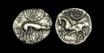 Ancient Coins - CE-DTPF - CORIELTAUVI - 'HOSTIDIUS TY.'  Silver Unit, ca.55-45BC.
