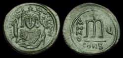 Ancient Coins - BY-TJWF - TIBERIUS II - AE Follis, ca.578/9AD. Super example with a fine portrait and patina!