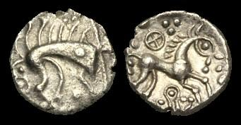 Ancient Coins - CE-DUTQ - ICENI - EYE BOAR/COTTER PIN - Silver Unit, c35-25BC.