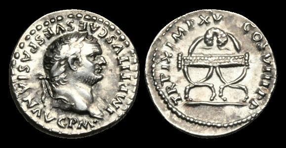 Ancient Coins - TI-FJDQ - TITUS - AR Denarius. Wreath on curule chair.