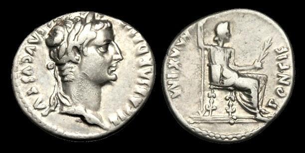 Ancient Coins - TI-JUUB - TIBERIUS AR Denarius Gr. 2, ca.15-8AD