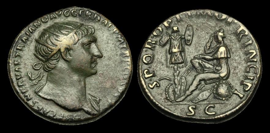 Ancient Coins - OR-WJBT - TRAJAN - Ori. Dupondius. Dacia std. l.
