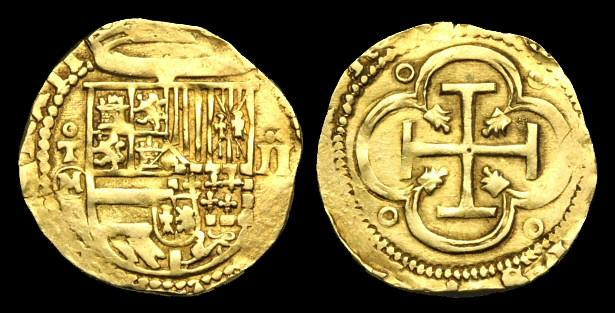Ancient Coins - OA-KDQJ - SPAIN (Toledo) - PHILIP II, Cob 2 Escudos, c1556-98AD....Classic pirate coin!