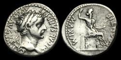 Ancient Coins - TI-PTFQ - TIBERIUS AR Denarius Gr. 5, ca.36-7AD
