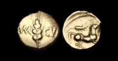 Ancient Coins - CE-TPFD - CATUVELLAUNI - CUNOBELIN, Gold Quarter Stater, ca.20-43AD.   RARE+