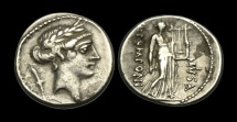 RE-WDBT - REPUBLIC - Q. Pomponius Musa AR Denarius, ca.56BC. Terpsichore (the Muse of Dancing)