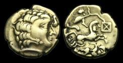 Ancient Coins - CE-PTFB - GAUL - Aulerci CenomanI, Electrum Stater, ca.150-90BC.                  VERY RARE