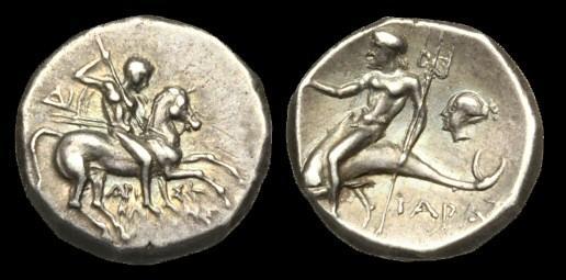 Ancient Coins - GR-DUPT - ITALY - Calabria, Tarentum AR Stater (nomos), c272-240BC, c18mm, c6.5g.