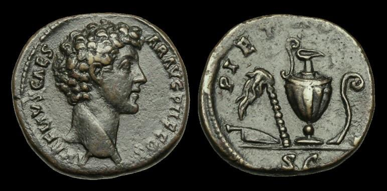 Ancient Coins - OR-WFTW - MARCUS AURELIUS CAESAR - AE As. PIETAS AVG, sacrificial implements