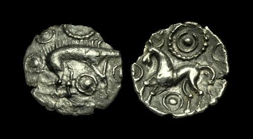 Ancient Coins - CE-PKDF - CELTIC 'HOSTIDIUS' AR Unit, ca.55-45BC. VERY RARE...........