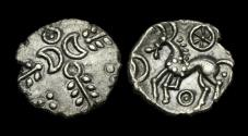 Ancient Coins - CE-UFPJ - CELTIC ICENI CRESCENT TYPE Silver Unit, ca.15-1BC