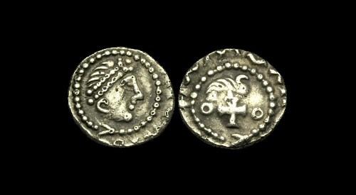 World Coins - SS-PFUJ - KENTISH (found ESSEX) Ty. BI A/C AR Sceat, ca.685-700AD