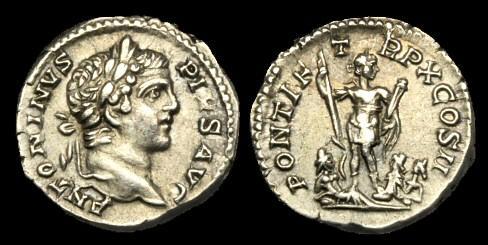 Ancient Coins - PE-BQDB - CARACALLA AR Denarius, c207AD, c18mm, c3.3g.