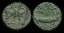 Ancient Coins - OR-JDFW - AUGUSTUS + AGRIPPA, Gaul, Nemausus AE As, ca.10-14AD.