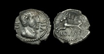 CE-FPWJ - ATREBATES/CANTII - EPPILUS AND VERICA, Silver Unit, ca.10BC-10AD.            EXTREMELY RARE