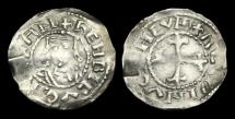 Ancient Coins - NO-QWDB - HENRY I - Bust facing/Cross fleury type Penny, ca.1117AD.