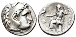 Ancient Coins - Thracian Kingdom. Lysimachos. 305-281 BC. AR Drachm (3.91 gm, 17mm). In the name and types of Alexander III of Macedon. Magnesia mint. Struck circa 301/0-300/299 BC. Price 1991