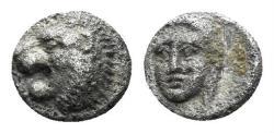 Ancient Coins - Karia, Mylasa. 420-390 BC. AR Tetartemorion (0.22 gm, 5.5mm). Klein 507