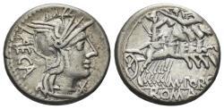 Ancient Coins - M. Porcius Laeca. 125 BC. AR Denarius (3.88 gm, 17.5mm). Rome mint. Crawford 270/1