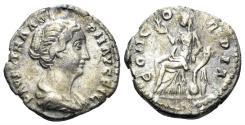 Ancient Coins - Faustina Junior. Augusta, 147-175 AD. AR Denarius (2.69 gm, 18mm). Rome mint, circa 147-150 AD. RIC III 502a (Antoninus)