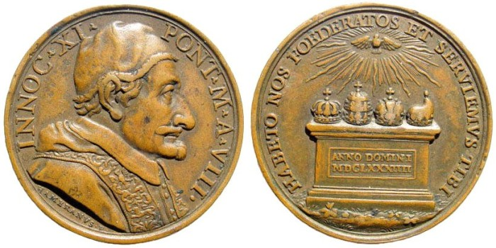 Ancient Coins - Italy, Papal Medals. Innocent XI (Benedetto Odescalchi), 1676-1689. AE Medal (35.4mm, 22.80 gm). Dated 1684. The Christian Allies against the Turks