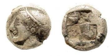 Ancient Coins - Ionia, Phokaia, late sixth century BC, AR Phokaic standard Hemihekta (1.21 gm, 9mm). SNG Kayan 522