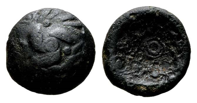 "Ancient Coins - Germania, Upper Rhine Area. AE ""Rainbow-cuplet"" (4.75 gm, 16mm). Castelin 1101"