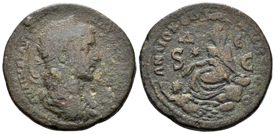 Ancient Coins - Syria, Seleucis and Pieria. Antioch. Elagabalus, 218-222 AD. AE 31mm (16.47 gm). cf. McAlee 807c