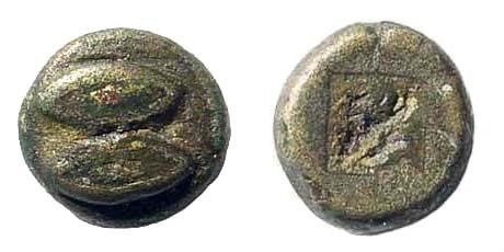 Ancient Coins - Lesbos Uncertain. Circa 550-500 BC. Billon Hemiobol (0.27 gm, 5mm). BMC 35