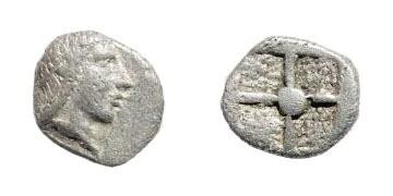 Ancient Coins - Ionia, uncertain mint. Kolophon or Magnesia. 5th century BC. AR Hemiobol (0.33 gm). SNG Tübingen 2750