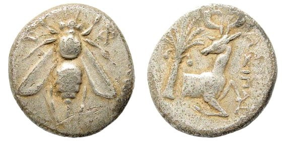 Ancient Coins - Ionia, Ephesos. Circa 325-300 BC. AR Attic standard Octobol (5.53 gm, 16mm). Very rare denomination for this type and unlisted magistrate